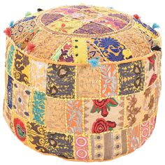 Cotton Fabric Embroidered Patchwork Pouf, Home Decor Round Ottoman Pouf Cover, Chic Pouf Meditation Seat, Indian Handmade Bohemian Pouf Pouf Ottoman, Ottoman Decor, Ottoman Cover, Cushion Covers, Pillow Covers, Floor Pouf, Floor Cushions, Yellow Ottoman, Turquoise Cushions