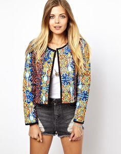 Kurtka Asos Quilted In Stained Glass Print Ethnic Fashion, New Fashion, Womens Fashion, Fashion Brand, Fashion Online, Coats For Women, Jackets For Women, Clothes For Women, Parka