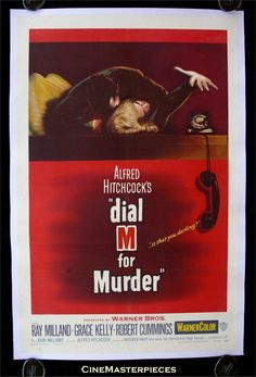 DIAL M FOR MURDER movie poster film poster one sheet 1954  DIRECTOR ALFRED HITCHCOCK, GRACE KELLY