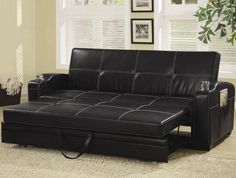 Comfort of a sofa that seems to hold you when you get home after a hard day's work; functionality of leather sofa bed that allows you to host guests at Best Leather Sofa Bed, Vintage Leather Sofa Bed Faux Leather Sofa, Best Leather Sofa, Leather Lounge, Black Leather, Bonded Leather, Sofa Design, Interior Design, Couches