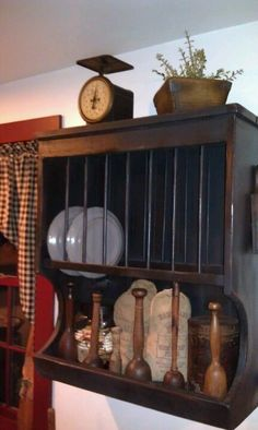 Plate rack shelf with old mashers & Primitive Plate Rack with Dowels - 32\