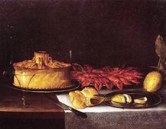 Giuseppe Recco, Natura morta con pizza rustica e gamberi,1668 ca, Collezione privata