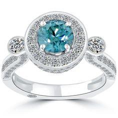 2.62 Carat Fancy Blue Diamond Engagement Ring 18k Gold Pave Halo Vintage Style #LioriDiamonds #DiamondEngagementRing