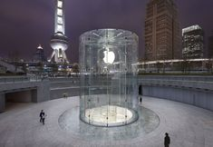 Apple patents Shanghai Apple Store's glass cylinder entryway; Steve Jobs co-credited as inventor   News   Archinect