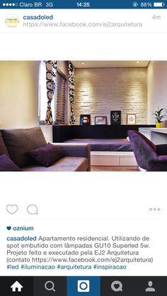 O nosso projeto de arquitetura e interiores para stúdio de 27m2 na Vila Madalena saiu no instagram da Casa do LED, confiram! @ej2arquitetura #studio #decor #design #roxo #preto #cinza #saopaulo #arquitetura #inspiração #quarto #sofá