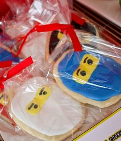Cute cookie favors at a Lego Ninjago Birthday Party!  See more party ideas at CatchMyParty.com!  #partyideas #lego