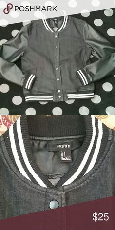 💮 Forever 21 letterman-style jean jacket 💮 faux leather sleeves  🛍 Thanks for shopping 😄 Forever 21 Jackets & Coats Jean Jackets