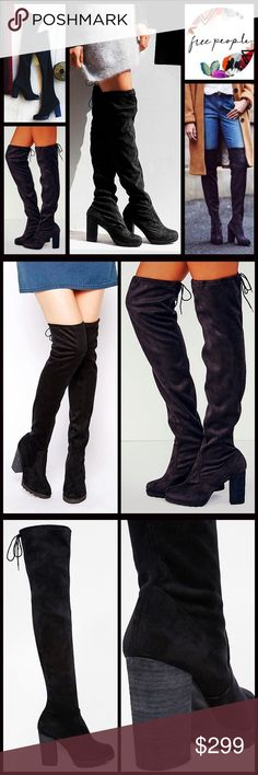 "❗️1-HOUR SALE❗️Free PEOPLE Over The Knee Boots 💟NEW WITH TAGS💟 RETAIL PRICE: $348  Tall Over The Knee Heeled Boots  * Vegan Suede leather construction  * Round toe; Lightweight lug soles  * Drawstring at top  * Approx 23.5"" shaft & 15"" calf circumstance w/plenty of stretch  * 3.5"" chunky high heels, 1/2"" platforms  Fabric: Textile Faux Suede, Leather lining, Synthetic sole Color:Black  ***Tagged size 38 = US size 8, true to size  North Star Lace up back 🚫No Trades🚫 ✅ Offers Considered ✅…"