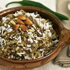 A pilaf of rice and roasted green wheat with a sprinkling of ground meat and spices is a comfort food from Aleppo, Syria