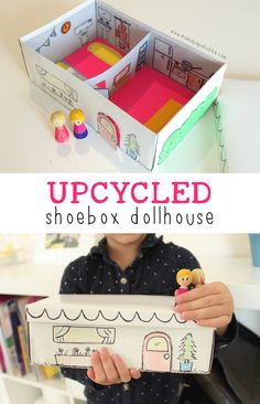 Upcycled Shoebox Dollhouse   Mama.Papa.Bubba.