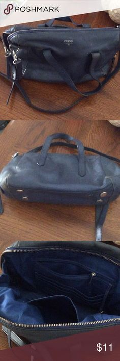 Fossil Sydney Satchel blue leather fixer upper Fossil Sydney Satchel blue leather fixer upper, fully lined with silver tone hardware. Condition is used with some marks. Fossil Bags Satchels