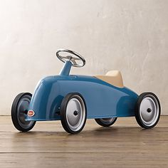 With the clean lines associated with the zippiest vintage European race cars, Restoration Hardware's Roaster Scoot for kids is a beautiful toy car—that allows children between the ages of two and four to get behind the wheel and power it along. It...