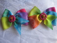 """Toddler """"Peace"""" Rainbow Pigtail Bows"""