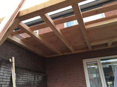 Overkapping met lichtkoepel - Overkapping Specialist Brabant Shed Plans, Garage Doors, Patio, Wood, Garden, Outdoor Decor, Home Decor, Terrace, Porch Roof