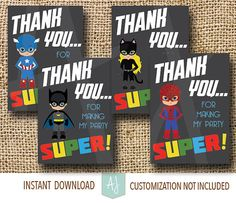 Calling all Superheroes! A Super Birthday Party Thank You Cards. Printable file for the DIY parents. Super hero themes are fun for everyone, girls and boys alike. Click through for matching games and decorations. Or check out our 50+ ideas for birthday themes. Endless amounts of fonts, colors, and wording available. Only at Aesthetic Journeys