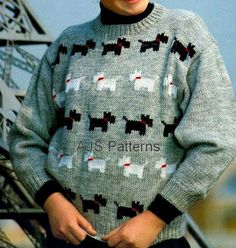 This PDF Knitting Pattern is for this lovely Childs Sweater with Scottie and West Highland White Terriers motifs knitted on it. Knitted in DK