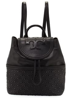 """Fleming Quilted Leather Backpack by Tory Burch. Tory Burch quilted leather backpack. Golden hardware. Rolled top handle, 3"""" drop. Adjustable shoulder straps, 14"""" dro..."""