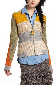 Clementine patchwork cardigan over denim blue jean shirt and knit tiered bloucle' skirt