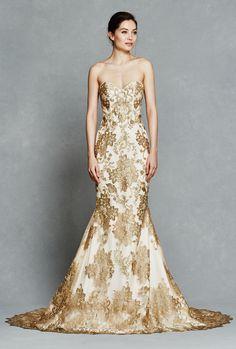 Kelly Faetanini Bridal Collection 2017 Fit and Flare Gold wedding dress #weddingdress #bridal