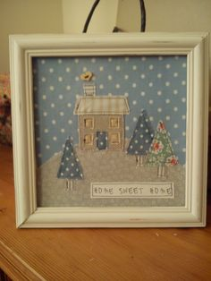 Handmade machine sewn home sweet home picture made with pretty fabrics (some Cath Kidston) and a button Sewing Art, Sewing Crafts, Sewing Projects, Free Motion Embroidery, Machine Embroidery Applique, Embroidery Patterns, Christmas Sewing, Christmas Embroidery, New Home Cards