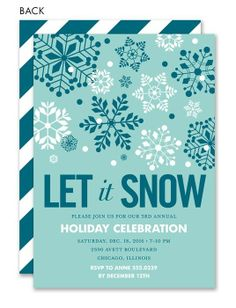 Let it Snow Blue Holiday Invitation