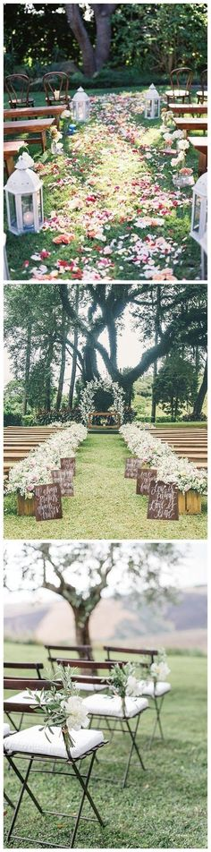 Rustic and romantic outdoor wedding ceremony ideas! I love the white flowers and greenery on the chairs, and the flower petals lining the aisle are stunning!