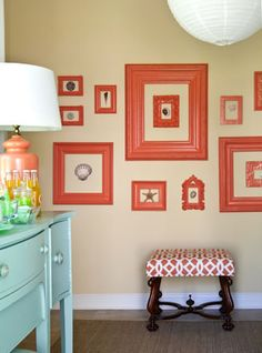 Collect old frames and paint them to match to fill a wall on a tight budget (eclectic living room by Tobi Fairley Interior Design) Coral Paint Colors, Coral Color, Bright Colors, Accent Colors, Orange Color, Beachy Colors, Tangerine Color, Blue Colors, Orange Yellow