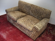 leopard print velvet chaise fainting couch excellent condition w 2
