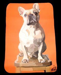 Hand drawn French Bulldog design printed on a 50x50cm black cotton Cushion Cover in Home, Furniture & DIY | eBay