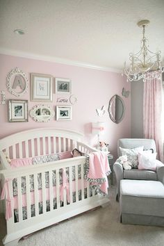 Baby Girl Nursery Ideas I love this room. Pink And Grey Nursery Baby Girl, Nursery Ideas Girl Grey Baby Bedroom, Girls Bedroom, Baby Rooms, Baby Bedding, Master Bedroom, Room Baby, Budget Bedroom, Baby Girl Bedroom Ideas, Child Room