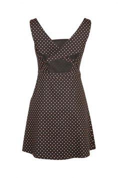 8d25261245a Robe courte à bretelles noir Naf Naf Polka Dot Top