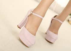 Pink chunky heel pump