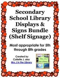 $12 Secondary School Library Displays  Signs (Shelf Signage) - Update your library with clean, colorful, easy-to-use signage and book displays!