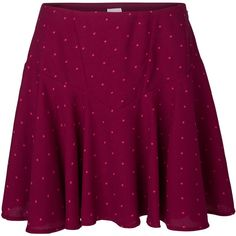 Vero Moda Dotted Skater Mini Skirt (22 CAD) ❤ liked on Polyvore featuring skirts, mini skirts, bottoms, faldas, zipper skirt, skater skirt, purple skirt, polka dot skirts and mini skater skirt