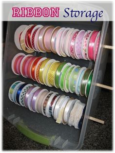 CLEVER!!!  How to Organize Your Ribbon! {clean up that messy stash with this simple trick!} ~ at TheFrugalGirls.com #ribbon #organizing