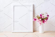 White frame mockup by TSTStockMockupPhotos on @creativemarket