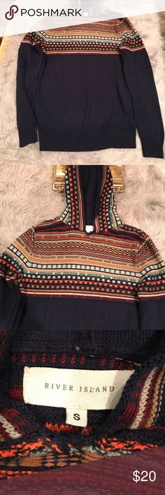 River Island Sweater Navy blue sweater with tribal print weaves design on attached hood and front and back bodice of sweater. Great for fall/winter River Island Sweaters