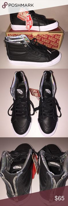 NWT Vans Leather SK8-Hi Slim Zip Hologram Black leather with zipper at the heels for easy entry.  M 4/W 5.5 Vans Shoes Sneakers