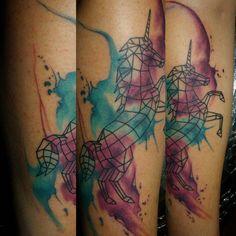 My new ink!! Geometric watercolor unicorn