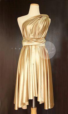 Gold Infinity Dress Convertible Dress Bridesmaid Dress Multiway Dress Wrap Dress Wedding Dress Maid of Honor Cocktail Dress Evening Dress