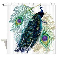 Vintage Peacock Shower Curtain  $35.00   www.allthingspeacock.com - Peacock Bathroom (2)