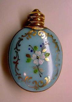 Blue Opaline Glass Enameled Purse Perfume .  boards to check - Every Woman Likes by Pat Swinicki