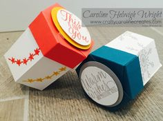 More details over on my blog http://www.craftycarolinecreates.com/2016/09/mini-hexagonal-gift-box-using-tin-of.html Email me with any questions, or if you wo...