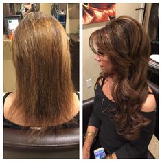 Tape in extensions before and after transformation