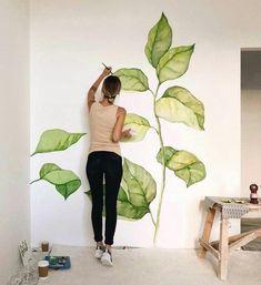 Leaves on a wall. Leaves on a wall. Leaves on a wall. Leaves on a wall. Wall Drawing, Art Mural, Deco Design, Studio Design, Design Art, Home Deco, Art Projects, Interior Design, Room Interior