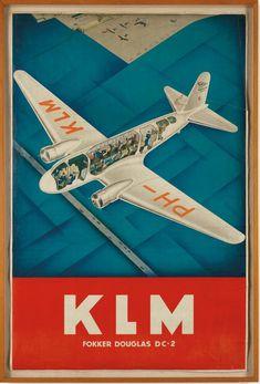 KLM, fokker, plane, vintage, dutch