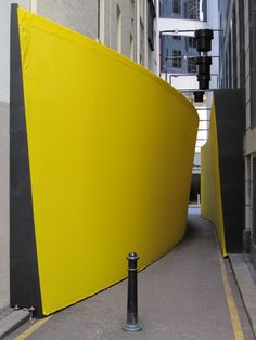 "Little Hunter Street hosts a temporary art installation called ""The Meeting Place"", as part of the Laneways: By George! This colourful, narrowed laneway encourages participation and interaction by pedestrians walking through this Interactive Architecture, Interactive Installation, Interactive Art, Urban Architecture, Installation Art, Installation Architecture, Urban Intervention, Sydney City, Yellow Interior"