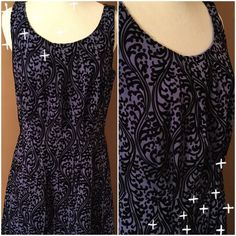 Black and Purple Dress   Beautiful sleeveless dress! Fully lined in purple. Top layer is very slightly sheer. It's purple with black. Elver feel design throughout!! Hidden zipper 20 inches down back. Machine wash gentle, hang to dry. Quite pretty. Like new  LOFT Dresses