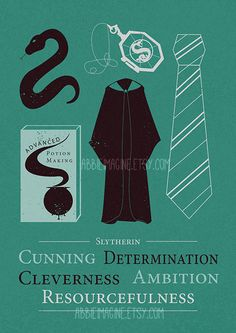 Slytherin Minimalist Poster Harry Potter Print by AbbieImagine
