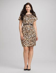 Plus Size   Dresses   Sheath Dresses   Plus Size Belted Leopard Print Dress
